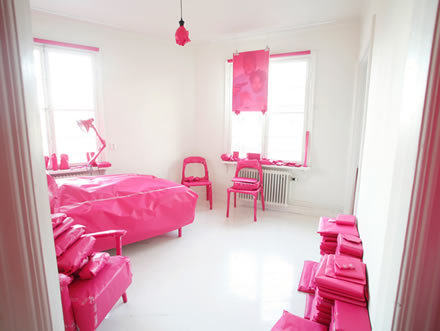 Pink prank project, pink paper & fun & tiny flat = art instalation